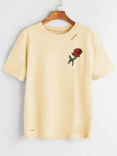 Tee-shirt lacéré brodé des roses
