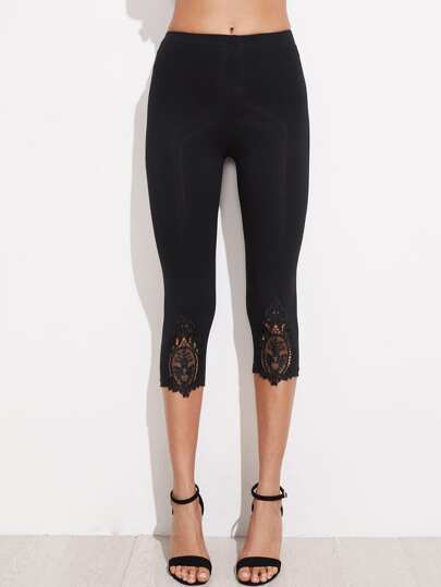 Lace Applique Hem  Cropped Leggings