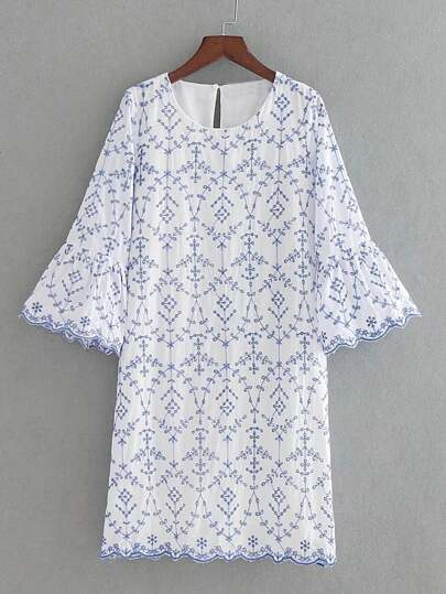 Bell Sleeve Wave Trim Embroidery Dress