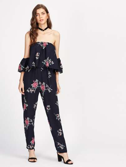 Bardot Florals Frill Layered Jumpsuit