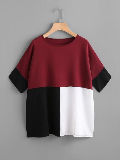 Color Block Batwing Blouse
