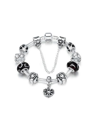 Rose And Rhinestone Detail Chain Bracelet