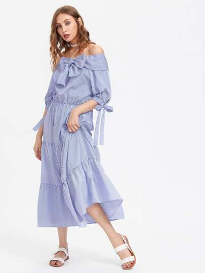 Bardot Vertical Striped Tie Detail Tiered Dress