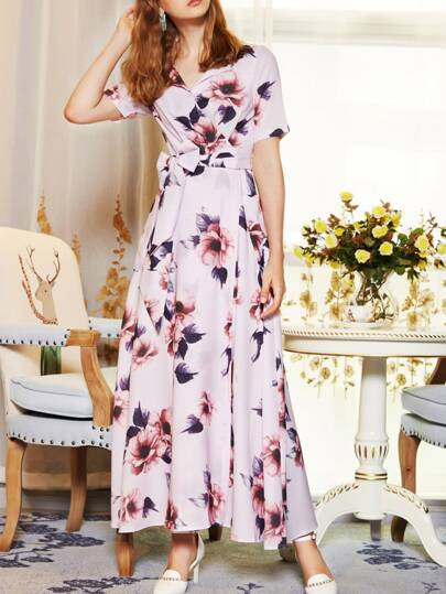 V Neck Bowknot Flowers Print Dress