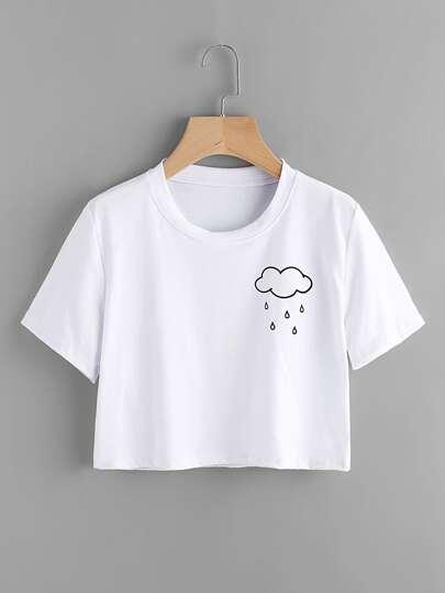 Tee-shirt imprimé des nuages