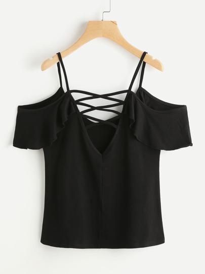 Tee-shirt dos en V découpé avec des plis