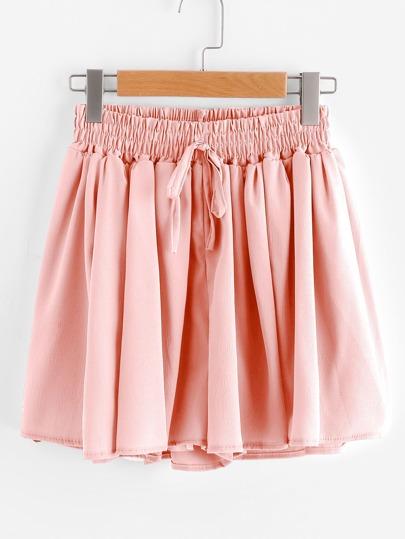 Drawstring Waist Chiffon Shorts