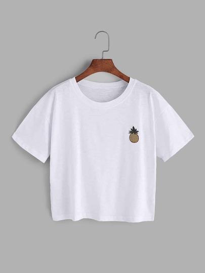 T-Shirt mit Ananasstickereien und Patch - Weiß