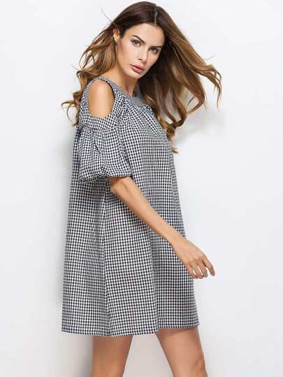 Open Shoulder Bow Tie Back Checkered Shift Dress