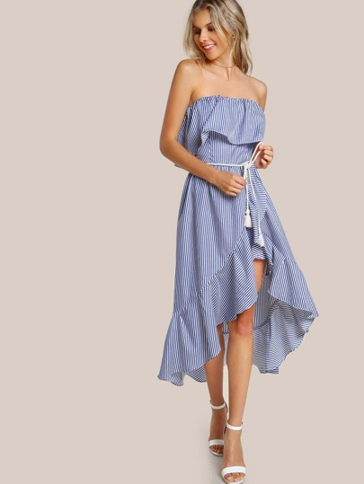 Flounce Strapless Striped Maxi Dress NACY WHITE