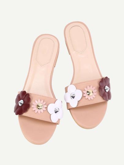 Sandales à fond plat fleur et perle embellie