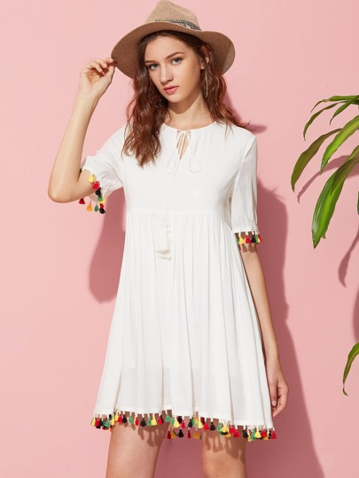 Keyhole Tie Neck Colorful Tassel Trim Smock Dress