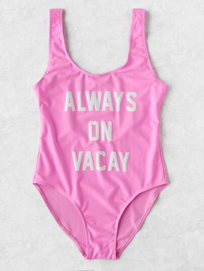 Contrast Slogan Scoop Neck Swimsuit