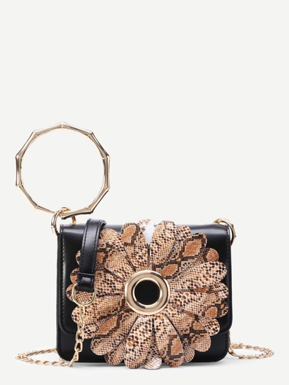 Flower Decorated Crossbody Bag With Ring Handle