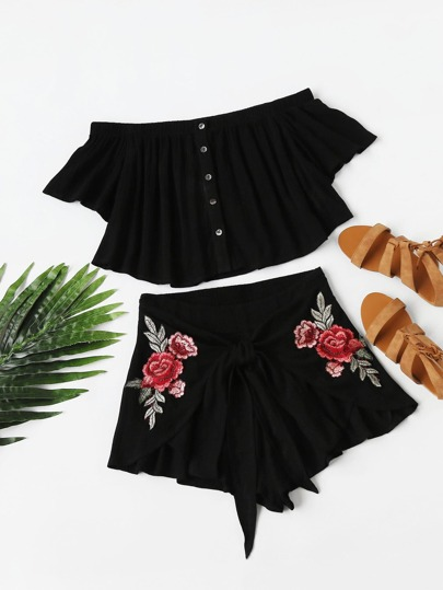 Buttoned Bardot Top And Embroidered Rose Patch Wrap Shorts Set