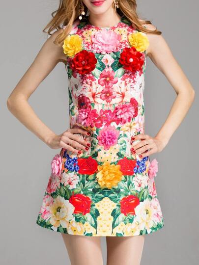Flowers Applique Jacquard Dress