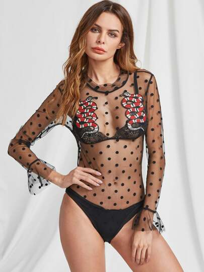 Applique Embellished Textured Dots Sheer Bodysuit