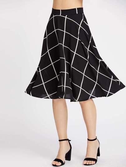 Grid Print Circle Skirt