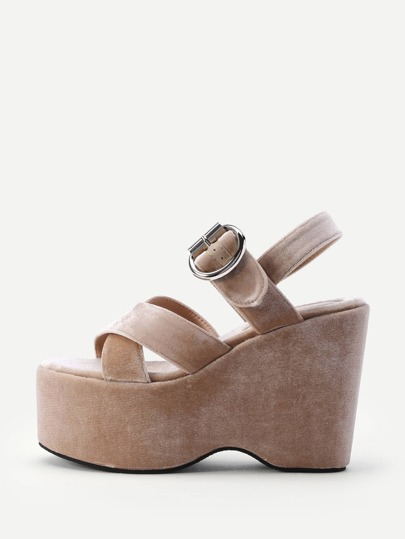 Criss Cross Strappy Sandales Wedge