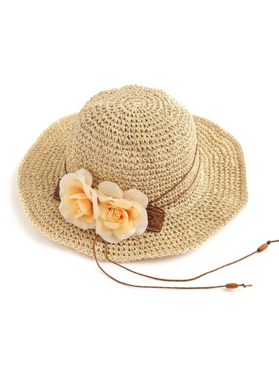Double Flower Embellished Straw Beach Hat