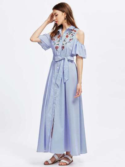 Open Shoulder Bell Sleeve Flower Embroidered Shirt Dress