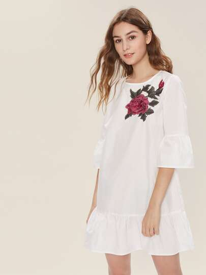 3D Flower Patch Trumpet Sleeve Frill Hem Dress