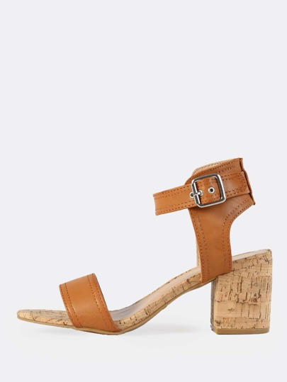 Ankle Strap Cork Heeled Sandals TAN