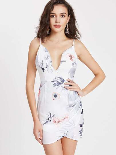 Floral Print Plunge Neck Open Back Wrap Cami Dress