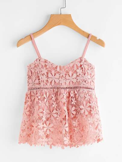 Pink Embroidered Floral Lace Applique Cami Top