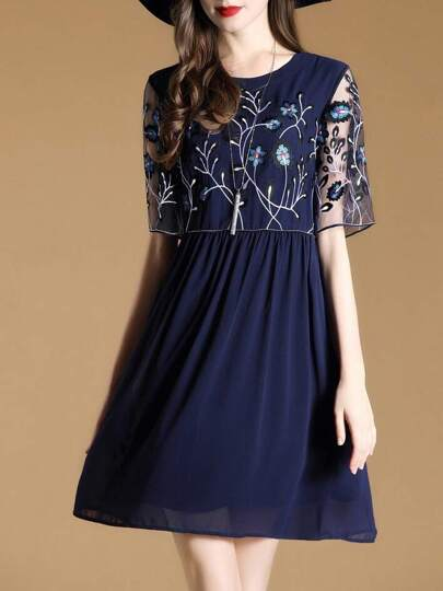 Flowers Embroidered Sheer A-Line Dress