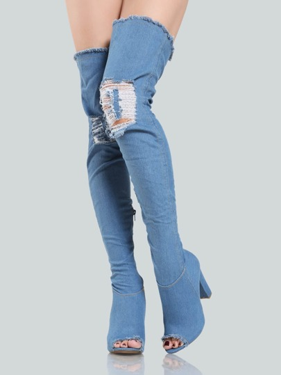 Frayed Denim Thigh Highs DENIM