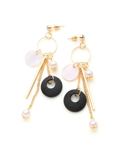Faux Pearl And Bar Design Drop Earrings