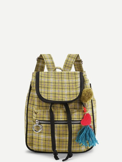 Pom Pom Detail Gingham Print Backpack With Tassel