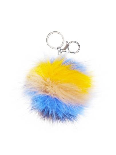 Nette Schlüsselanhänger mit Kunstfeder und Pompons