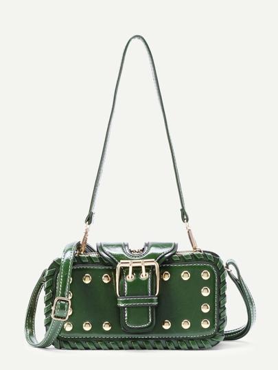 Модная кожаная сумка с заклепками и регулируемым ремнем