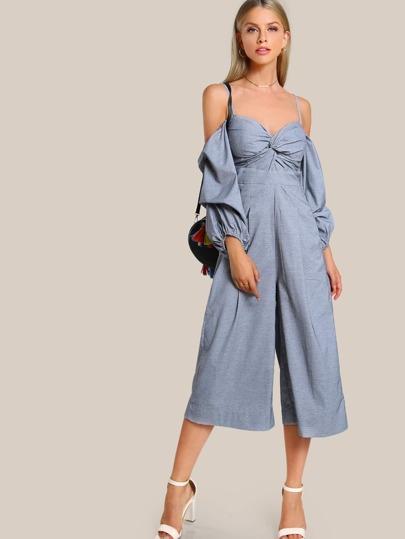 Bardot Sleeve Cold Shoulder Jumpsuit BLUE