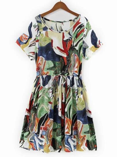 Random Abstract Print Swing Dress