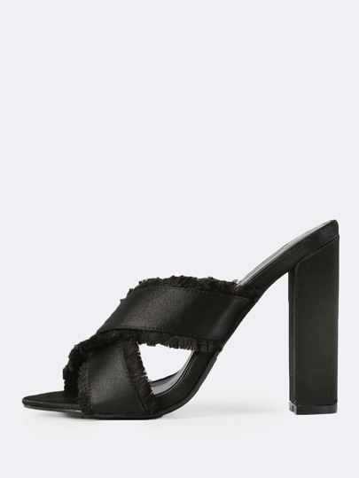 Cross Band Mules BLACK