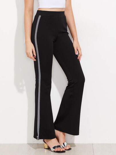 Checkered Panel Split Side Flare Pants