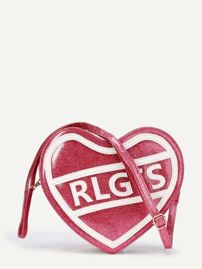 Letter Print Heart Shaped PU Bag