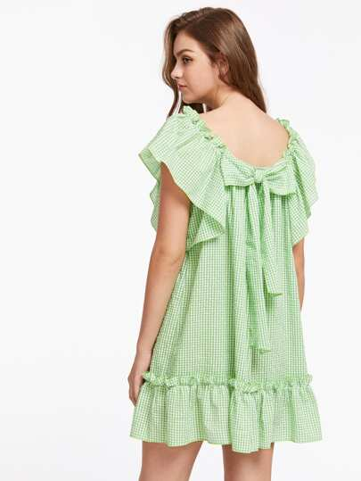 Flutter Sleeve Bow Back Frilled Gingham Dress