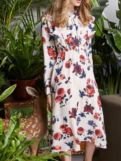 Ruffle Sleeve Bowknot Flowers Print Dress