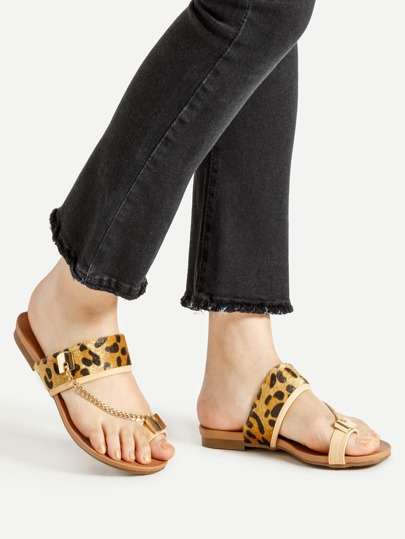 Leopard Toe Ring Flat Sandals