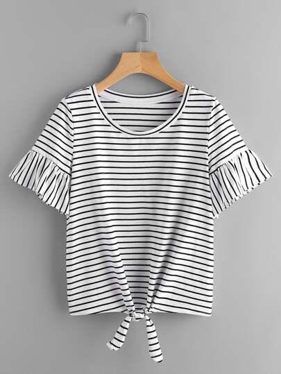 T-Shirt mit Trompetenhülse, Knoten vorn und Streifen