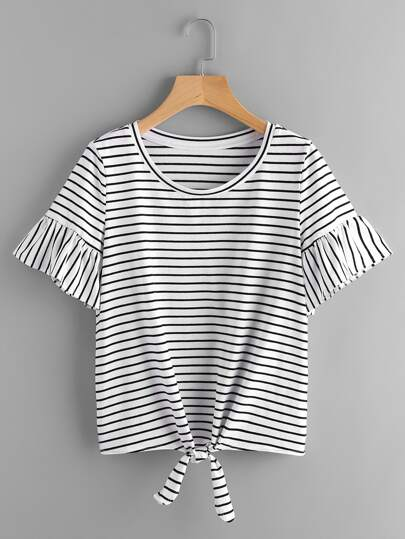Tee-shirt manche trompette à rayures avec nœuds