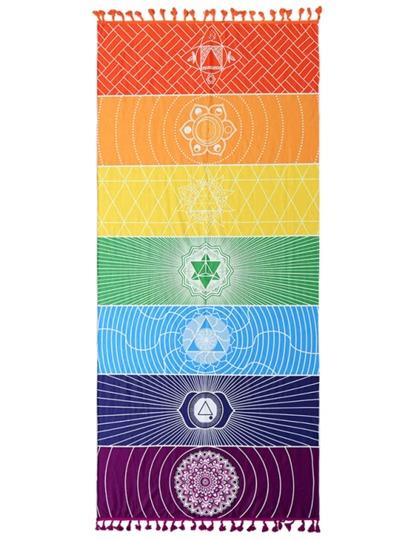 Color Block Fringe Trim Beach Blanket