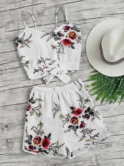 Top à bretelle avec lacet divisé au dos imprimé fleur avec shorts