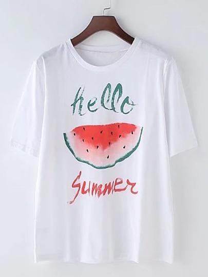 Watermelon Print Loose Tee