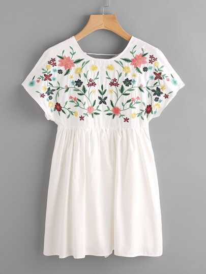 Lace Up Back Embroidery Smock Dress