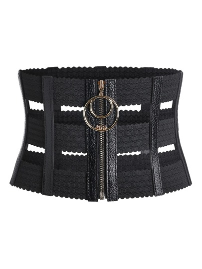 Cage Zipper Up Corset Belt